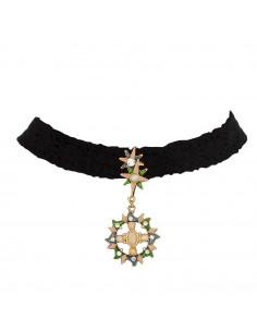 Colier choker din dantela cu medalion soare cu perle