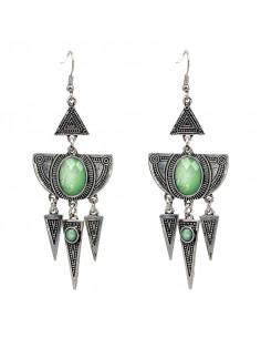 Cercei etnici lungi, semicerc si triunghiuri cu cristale verzi opalescente