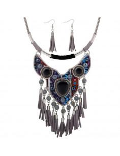 Set colier indian si cercei cu canafi, suport textil cu margele colorate si cristale
