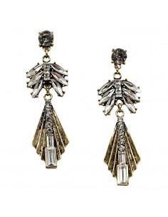 Cercei lungi eleganti, Crystal Bee, aurii vintage cu cristale albe