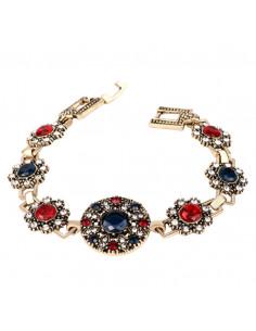 Bratara vintage cu flori si cristale colorate rosii si albastre, medalion rotund