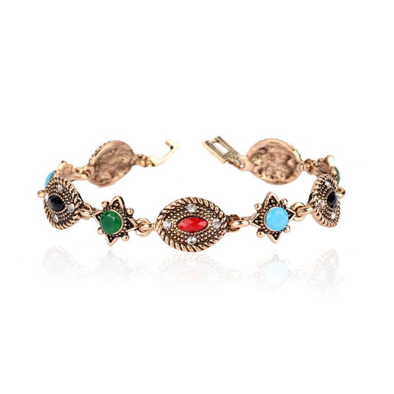 Bratara vintage cu stelute si medalioane ovale cu cristale albe si colorate