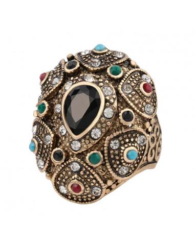 Inel vintage model turcesc inalt, cu cristal lacrima neagra in centru