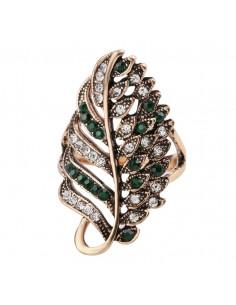 Inel model cu frunza vintage ondulata lunga pe deget cu cristale verzi si albe
