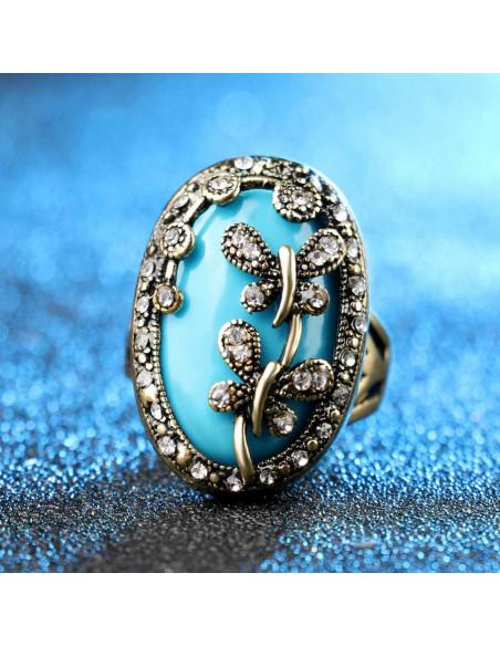 Inel vintage oval cu piatra albastra si fluturasi cu hematite