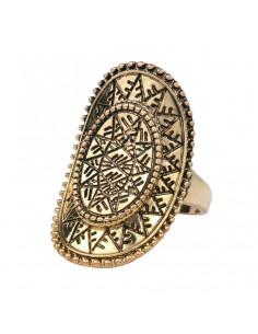 Inel vintage oval arcuit cu motive geometice etnice