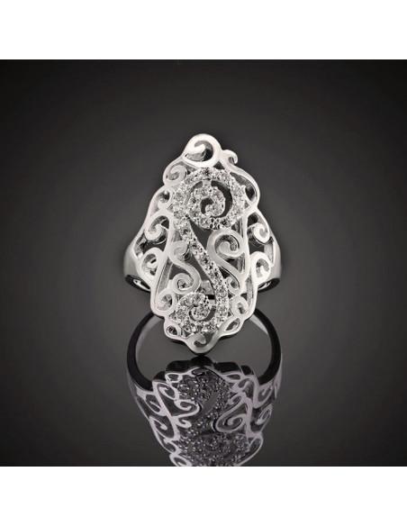 Inel placat cu argint, model cu spirale ondulate si S decorat cu cristale