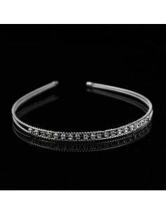 Coronita pentru par argintie cu cristale albe si fir rasucit