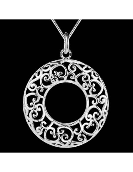 Pandantiv placat cu argint, model rotund cu inimioare filigranate
