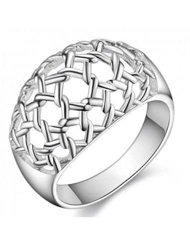 Inel placat cu argint, model cu plasa impletita bombata