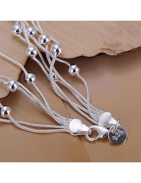 Bratara placata cu argint, cinci lantisoare subtiri cu bilute