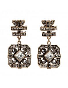 Cercei cercei vintage patrati cu hematite si cristale albe, model baroc