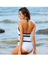 Costum de baie intreg elegant, alb cu negru
