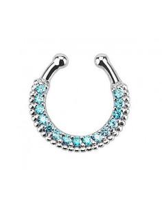 Inel fals pentru nas Septum Ring tip coronita simpla cu cristale