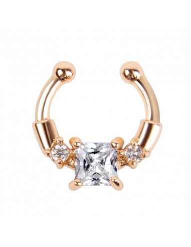Inel fals pentru nas Septum Ring cu cristal mare patrat, piercing fals