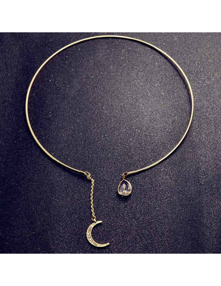 Colier rotund elegant, cu semiluna si cristal picatura transparenta