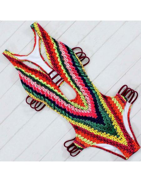Costum de baie intreg, multicolor, cu barete visinii