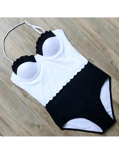 Costum de baie intreg vintage, alb-negru, cupe cu push-up