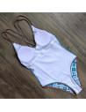 Costum de baie intreg, imprimeu etnic detaliat, albastru-multicolor
