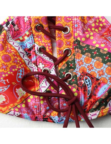 Costum de baie cu bustiera, in nuante de rosu si snur visiniu