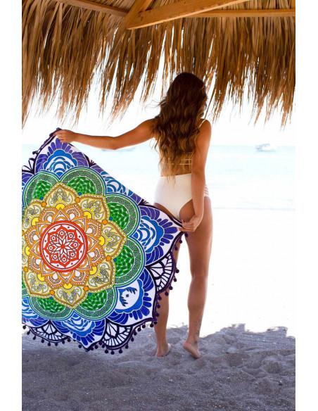 Cearceaf de plaja cu marginile decupate tip floare cu canafi, imprimeu colorat