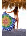 Cearceaf de plaja cu marginile decupate tp floare cu canafi, imprimeu colorat