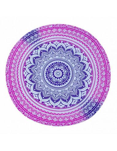 Cearceaf de plaja rotund cu imprimeu mandala flori roz/mov