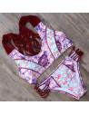 Costum de baie cu bustiera, imprimeu roz-bleu si snururi impletite