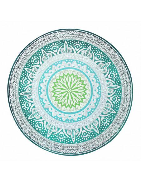 Cearceaf de plaja rotund mandala verde cu motive etnice
