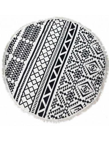 Cearceaf de plaja rotund alb negru cu motive geometrice