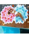 Cearceaf de plaja floare mandala cu petale multicolor si franjuri