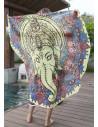 Cearceaf de plaja rotund cu elefant indian vintage Ganesha
