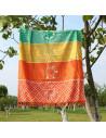 Cearceaf de plaja dreptunghiular multicolor indian cu cele sapte chakre