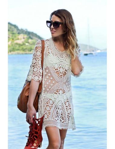 Bluza lunga pentru plaja, crosetata, cu maneci trei sferturi