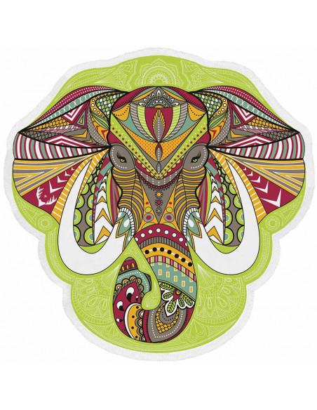 Cearceaf de plaja indian cu elefant multicolor si franjuri