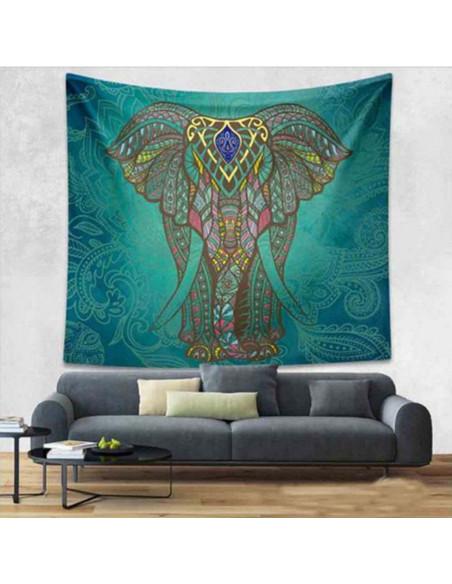 Cearceaf de plaja cu elefant indian si fundal albastru/verde