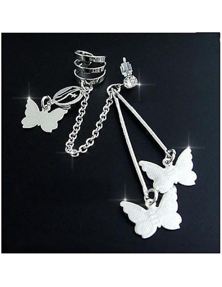 Cercei ear cuff, model cu trei fluturasi si lantisor, prindere dubla