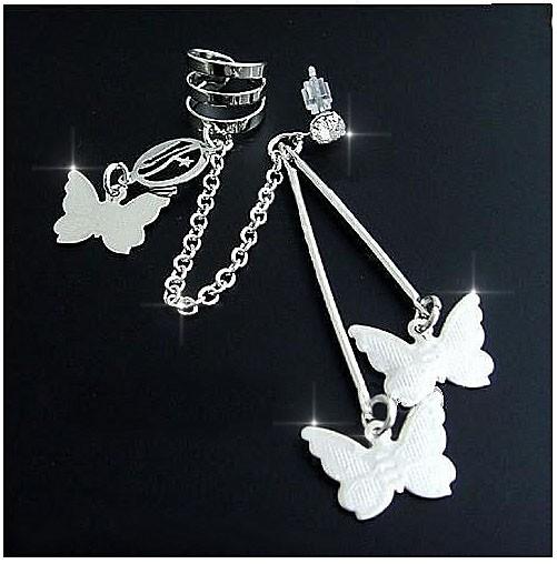 Cercel tip ear cuff, model cu trei fluturasi si lantisor, prindere pe ureche