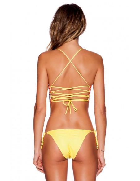 Costum de baie cu bustiera, galben cu imprimeu colorat