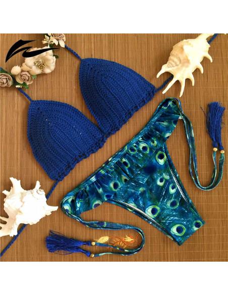 Costum de baie crosetat BOHO albastru cu canafi, imprimeu Peacock