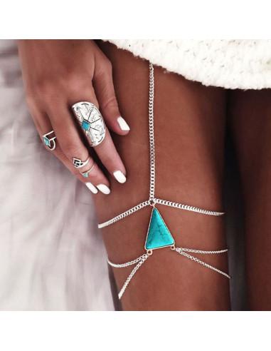 Lant pentru picior cu triunghi de howlit si trei lantisoare