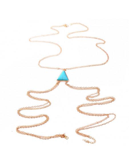 Lant pentru corp cu medalion triunghiular howlit turcoaz in centru