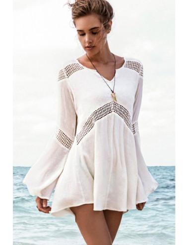 Bluza de plaja, cu benzi crosetate si maneci clopot