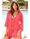 Bluza de plaja, cu broderie decupata, diverse culori