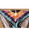 Costum de baie gypsy, imprimeu multicolor si bretele impletite