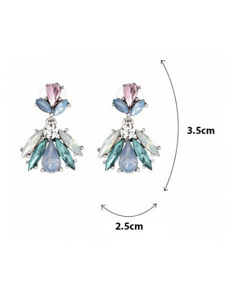 Cercei eleganti cu cristale alungite si culori variate