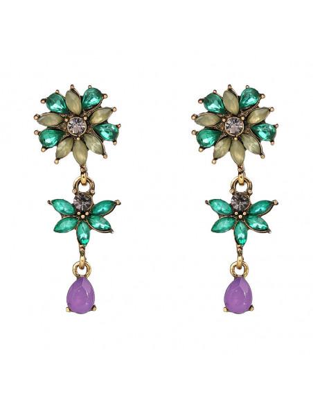 Cercei eleganti lungi cu cristale verzi, floricele delicate