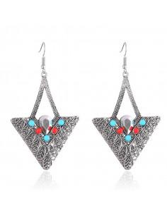 Cercei eleganti triunghiulari cu margelute colorate si cristal mat