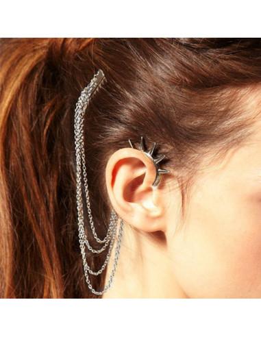 Cercel ear cuff, cu pieptene si carlig cu tepi lungi, prindere pe ureche si in par