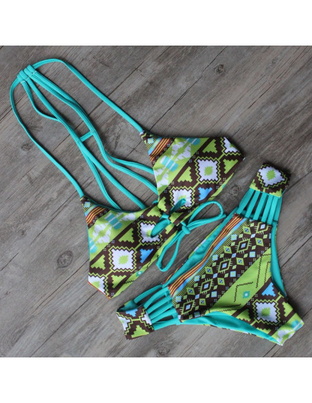 Costum de baie cu doua fete, imprimeu tribal geometric verde smarald